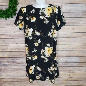 3/$20 Forever 21 Floral Print Black Midi Dress